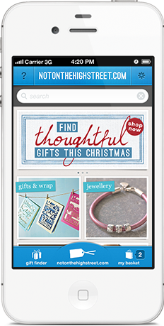 Screenshot showing all products in notonthehighstreet.com gift finder iPhone app
