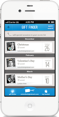 Screenshot showing occasions and friends in notonthehighstreet.com gift finder iPhone app