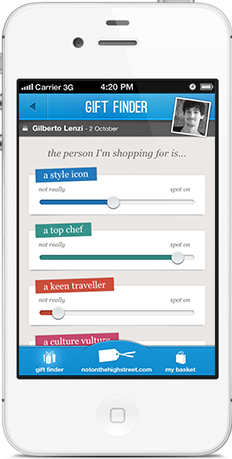 Screenshot showing personality sliders in notonthehighstreet.com gift finder iPhone app